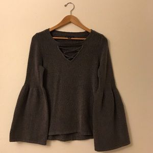 American Eagle Strappy Bell Sleeve Sweater Gray